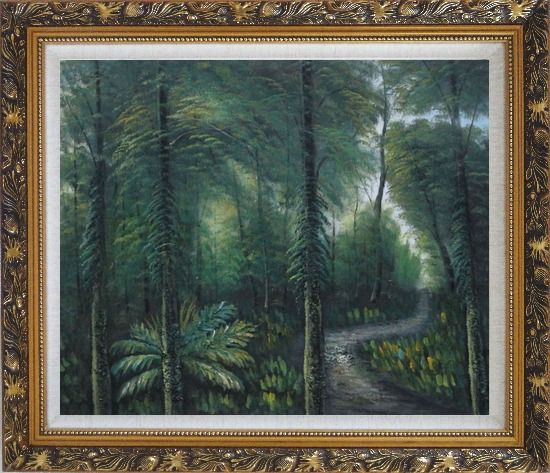 Framed Small Quiet Trail in a Green Forest Oil Painting Landscape Tree Naturalism Ornate Antique Dark Gold Wood Frame 26 x 30 Inches