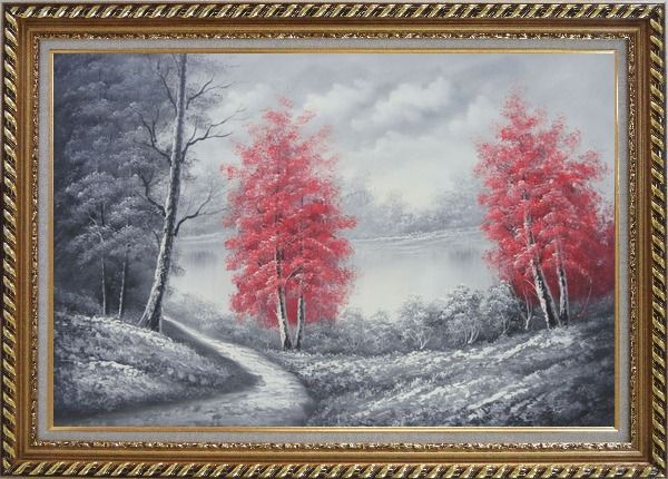 Framed Two Red Leave Trees in Black and White Landscape Oil Painting Naturalism Exquisite Gold Wood Frame 30 x 42 Inches