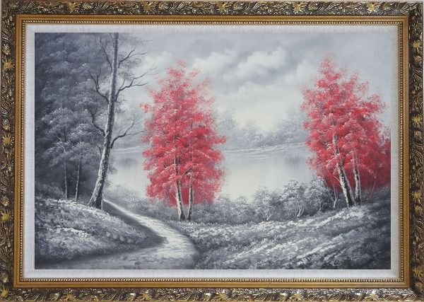 Framed Two Red Leave Trees in Black and White Landscape Oil Painting Naturalism Ornate Antique Dark Gold Wood Frame 30 x 42 Inches
