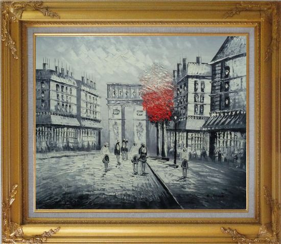 Framed Black and White Paris Arc de Triumph with Red Tree Oil Painting Cityscape France Impressionism Gold Wood Frame with Deco Corners 27 x 31 Inches