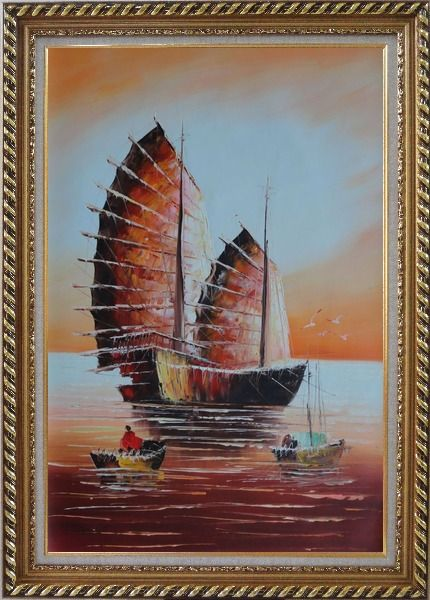 Framed A Big Fully Rigged Two-Mast Ship with Two Small Boats in Sunset Oil Painting Impressionism Exquisite Gold Wood Frame 42 x 30 Inches