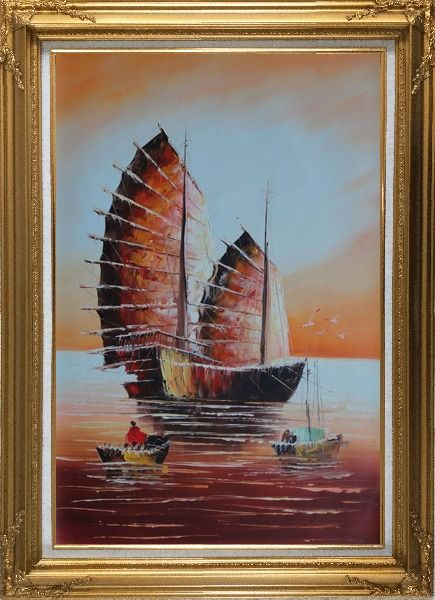 Framed A Big Fully Rigged Two-Mast Ship with Two Small Boats in Sunset Oil Painting Impressionism Gold Wood Frame with Deco Corners 43 x 31 Inches