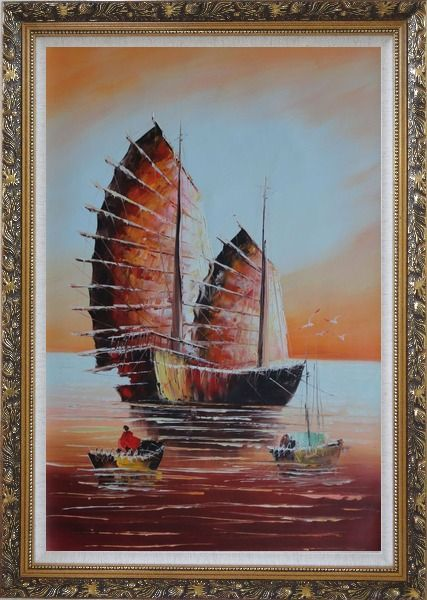 Framed A Big Fully Rigged Two-Mast Ship with Two Small Boats in Sunset Oil Painting Impressionism Ornate Antique Dark Gold Wood Frame 42 x 30 Inches