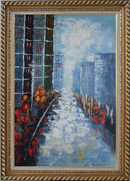 Framed Modern Cityscape with People Walking on Street Oil Painting Impressionism Exquisite Gold Wood Frame 42 x 30 Inches