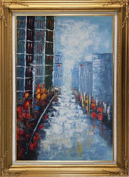 Framed Modern Cityscape with People Walking on Street Oil Painting Impressionism Gold Wood Frame with Deco Corners 43 x 31 Inches