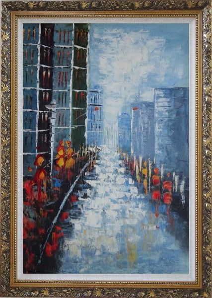 Framed Modern Cityscape with People Walking on Street Oil Painting Impressionism Ornate Antique Dark Gold Wood Frame 42 x 30 Inches