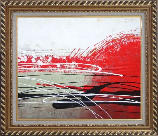 Framed Red, White and Black Modern Art Oil Painting Nonobjective Decorative Exquisite Gold Wood Frame 26 x 30 Inches