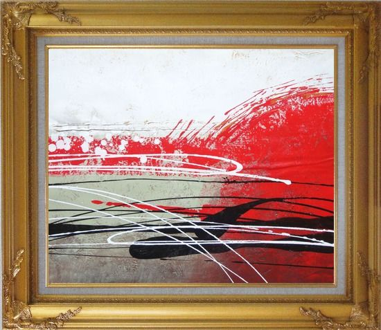 Framed Red, White and Black Modern Art Oil Painting Nonobjective Decorative Gold Wood Frame with Deco Corners 27 x 31 Inches