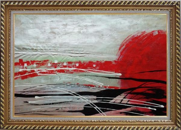 Framed Red, White and Black Modern Art Oil Painting Nonobjective Decorative Exquisite Gold Wood Frame 30 x 42 Inches