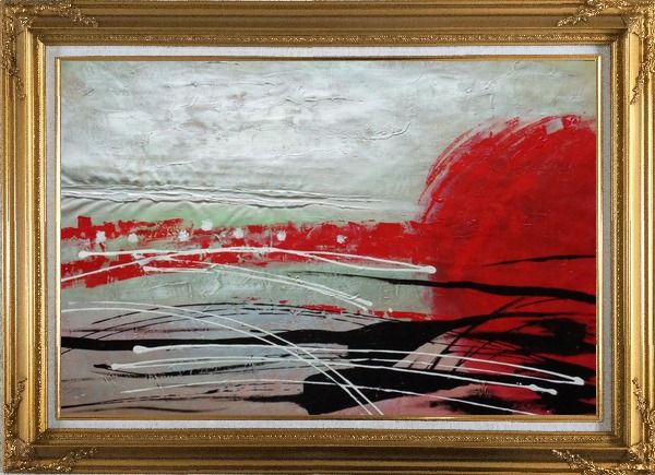 Framed Red, White and Black Modern Art Oil Painting Nonobjective Decorative Gold Wood Frame with Deco Corners 31 x 43 Inches