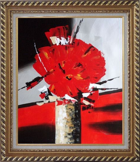 Framed Colorful Modern Blooming Red Poppy Flowers in Vase Oil Painting Still Life Decorative Exquisite Gold Wood Frame 30 x 26 Inches