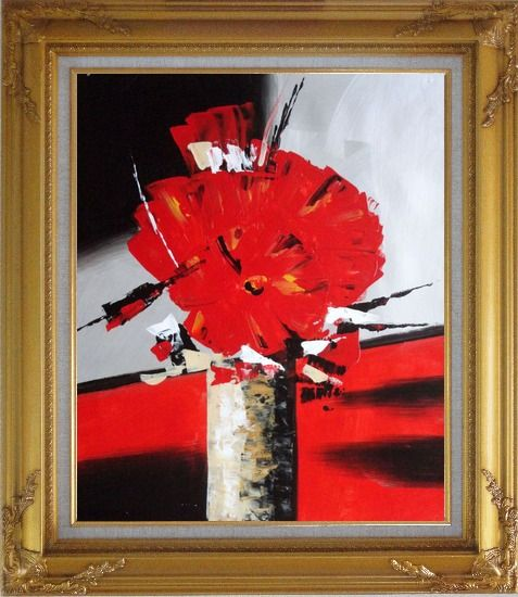 Framed Colorful Modern Blooming Red Poppy Flowers in Vase Oil Painting Still Life Decorative Gold Wood Frame with Deco Corners 31 x 27 Inches
