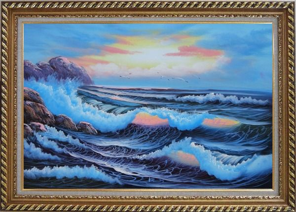 Framed Sea Waves Crashing Over Rocks on Coast of Sea Oil Painting Seascape America Naturalism Exquisite Gold Wood Frame 30 x 42 Inches
