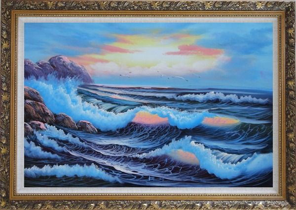 Framed Sea Waves Crashing Over Rocks on Coast of Sea Oil Painting Seascape America Naturalism Ornate Antique Dark Gold Wood Frame 30 x 42 Inches