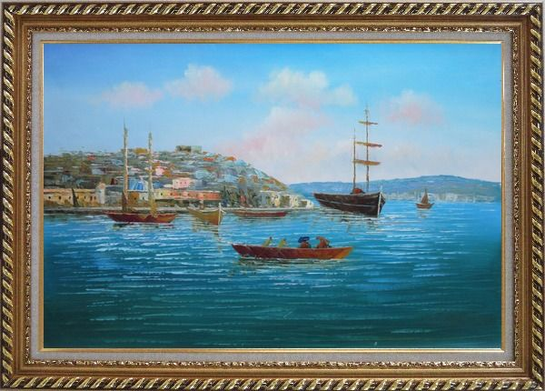 Framed Boating Around Island Oil Painting Seascape Italy Impressionism Exquisite Gold Wood Frame 30 x 42 Inches
