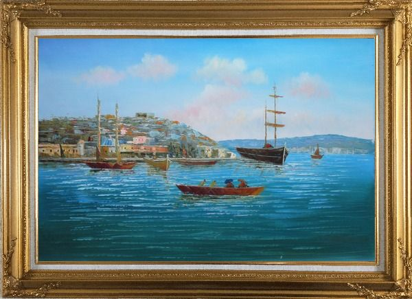Framed Boating Around Island Oil Painting Seascape Italy Impressionism Gold Wood Frame with Deco Corners 31 x 43 Inches