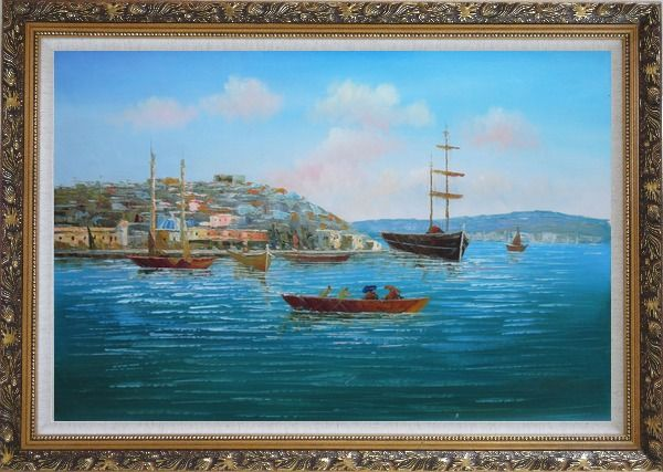 Framed Boating Around Island Oil Painting Seascape Italy Impressionism Ornate Antique Dark Gold Wood Frame 30 x 42 Inches