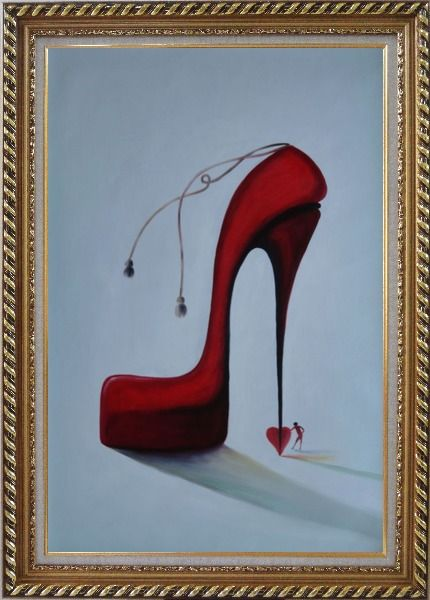 Framed My Lady's Love Sky High Heels Oil Painting Portraits Woman Modern Exquisite Gold Wood Frame 42 x 30 Inches