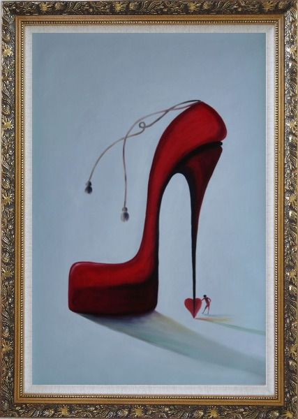 Framed My Lady's Love Sky High Heels Oil Painting Portraits Woman Modern Ornate Antique Dark Gold Wood Frame 42 x 30 Inches