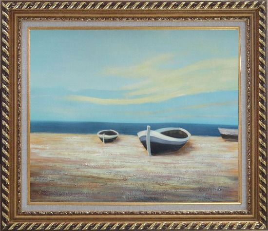 Framed Boats On Shore Oil Painting Decorative Exquisite Gold Wood Frame 26 x 30 Inches