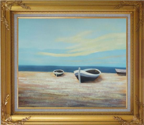 Framed Boats On Shore Oil Painting Decorative Gold Wood Frame with Deco Corners 27 x 31 Inches