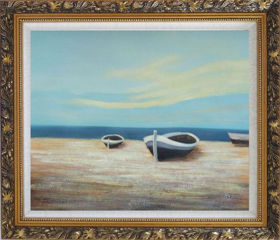 Framed Boats On Shore Oil Painting Decorative Ornate Antique Dark Gold Wood Frame 26 x 30 Inches