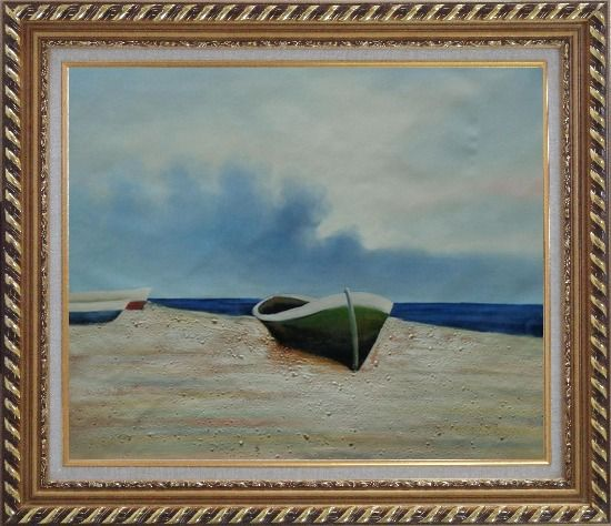 Framed  Rowing Boats Resting on Shore Oil Painting Decorative Exquisite Gold Wood Frame 26 x 30 Inches