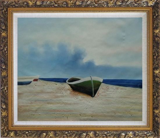 Framed  Rowing Boats Resting on Shore Oil Painting Decorative Ornate Antique Dark Gold Wood Frame 26 x 30 Inches