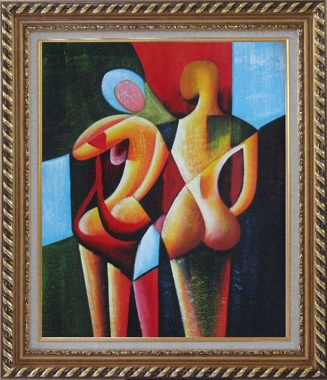 Framed Nude Couple in Love Oil Painting Portraits Modern Cubism Exquisite Gold Wood Frame 30 x 26 Inches