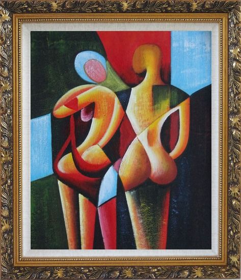Framed Nude Couple in Love Oil Painting Portraits Modern Cubism Ornate Antique Dark Gold Wood Frame 30 x 26 Inches