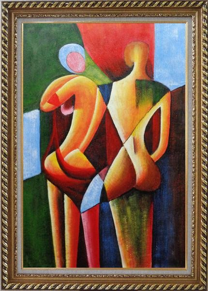 Framed Nude Couple in Love Oil Painting Portraits Modern Cubism Exquisite Gold Wood Frame 42 x 30 Inches
