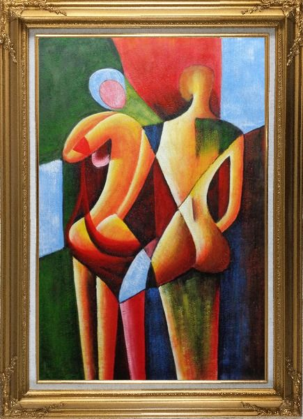 Framed Nude Couple in Love Oil Painting Portraits Modern Cubism Gold Wood Frame with Deco Corners 43 x 31 Inches