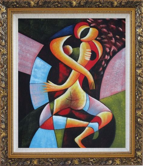 Framed Hugging Lovers Oil Painting Portraits Couple Modern Cubism Ornate Antique Dark Gold Wood Frame 30 x 26 Inches