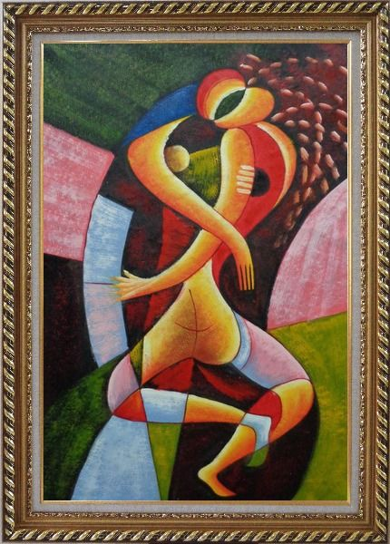 Framed Hugging Lovers Oil Painting Portraits Couple Modern Cubism Exquisite Gold Wood Frame 42 x 30 Inches