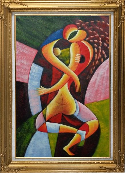 Framed Hugging Lovers Oil Painting Portraits Couple Modern Cubism Gold Wood Frame with Deco Corners 43 x 31 Inches