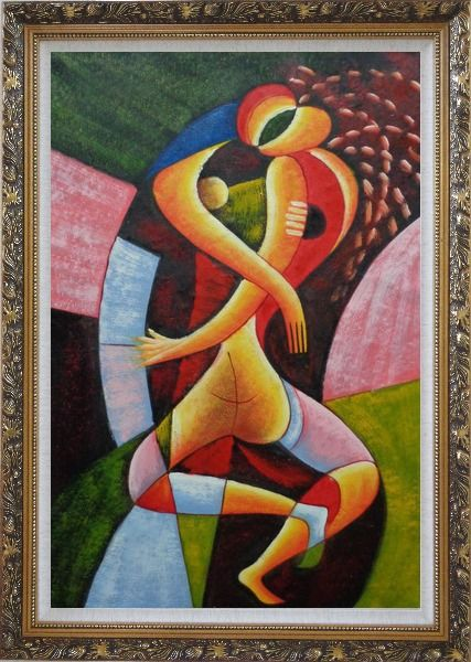 Framed Hugging Lovers Oil Painting Portraits Couple Modern Cubism Ornate Antique Dark Gold Wood Frame 42 x 30 Inches