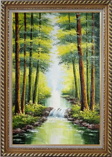 Framed Small Waterfall in Early Autumn Oil Painting Landscape Tree Naturalism Exquisite Gold Wood Frame 42 x 30 Inches