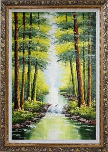 Framed Small Waterfall in Early Autumn Oil Painting Landscape Tree Naturalism Ornate Antique Dark Gold Wood Frame 42 x 30 Inches