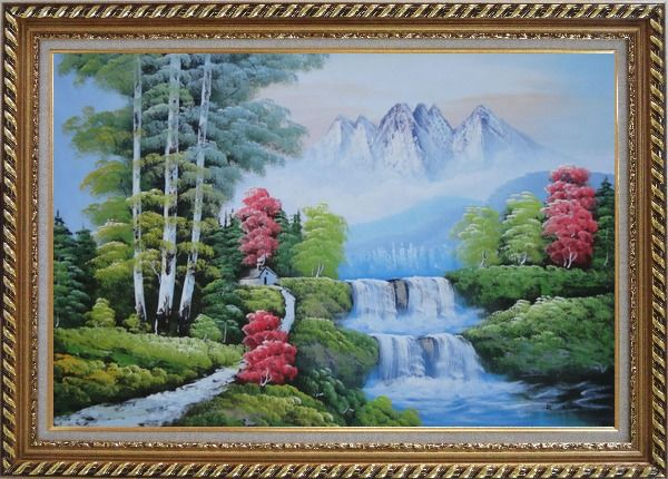 Framed Water from Snow Mountain Oil Painting Landscape Waterfall Naturalism Exquisite Gold Wood Frame 30 x 42 Inches