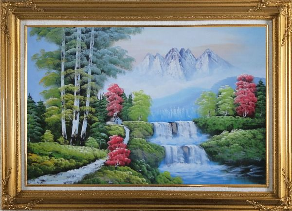 Framed Water from Snow Mountain Oil Painting Landscape Waterfall Naturalism Gold Wood Frame with Deco Corners 31 x 43 Inches