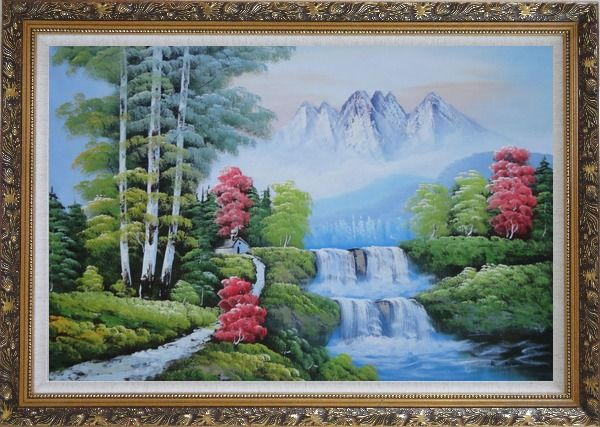 Framed Water from Snow Mountain Oil Painting Landscape Waterfall Naturalism Ornate Antique Dark Gold Wood Frame 30 x 42 Inches