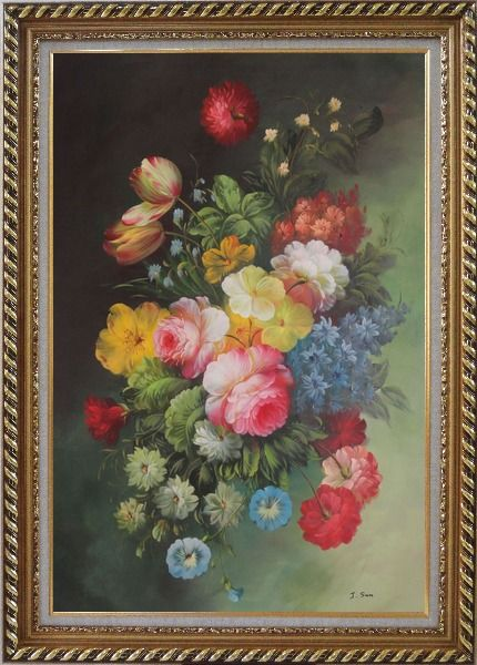 Framed Still Life with Flowers Oil Painting Bouquet Classic Exquisite Gold Wood Frame 42 x 30 Inches