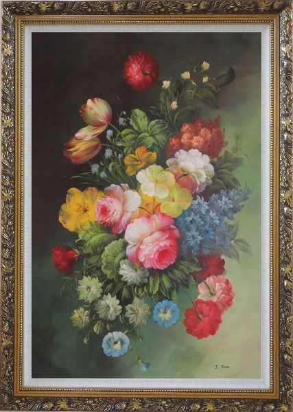 Framed Still Life with Flowers Oil Painting Bouquet Classic Ornate Antique Dark Gold Wood Frame 42 x 30 Inches