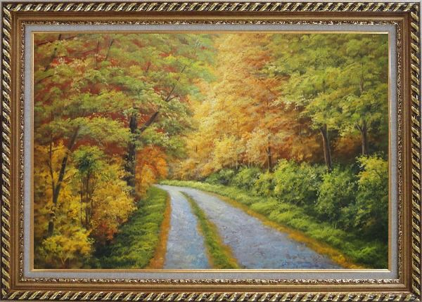 Framed Peaceful Path in Golden Autumn Forest Oil Painting Landscape Tree Naturalism Exquisite Gold Wood Frame 30 x 42 Inches
