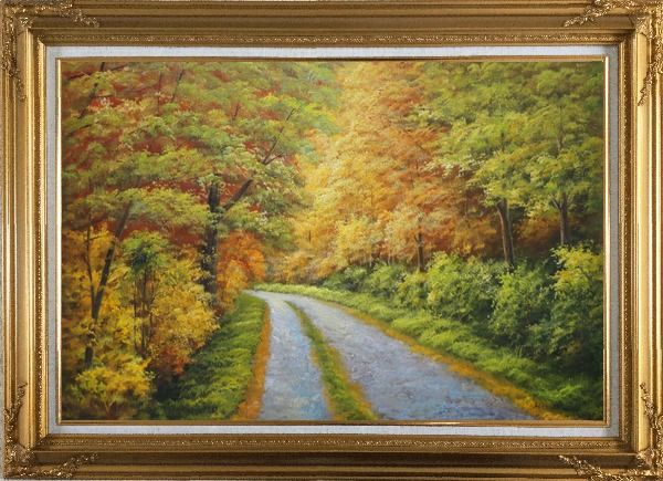 Framed Peaceful Path in Golden Autumn Forest Oil Painting Landscape Tree Naturalism Gold Wood Frame with Deco Corners 31 x 43 Inches