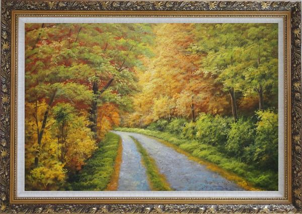 Framed Peaceful Path in Golden Autumn Forest Oil Painting Landscape Tree Naturalism Ornate Antique Dark Gold Wood Frame 30 x 42 Inches