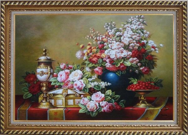 Framed Red, Pink Roses and Other Colorful Flowers, Cherry and Exquisite Light Pot Oil Painting Still Life Bouquet Classic Exquisite Gold Wood Frame 30 x 42 Inches