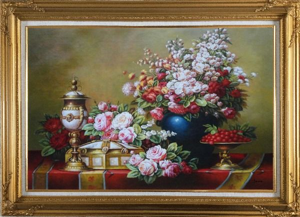 Framed Red, Pink Roses and Other Colorful Flowers, Cherry and Exquisite Light Pot Oil Painting Still Life Bouquet Classic Gold Wood Frame with Deco Corners 31 x 43 Inches