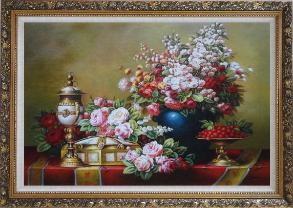 Framed Red, Pink Roses and Other Colorful Flowers, Cherry and Exquisite Light Pot Oil Painting Still Life Bouquet Classic Ornate Antique Dark Gold Wood Frame 30 x 42 Inches