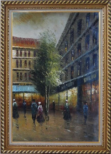 Framed Parisian Street Scene At Dusk Oil Painting Cityscape France Impressionism Exquisite Gold Wood Frame 42 x 30 Inches